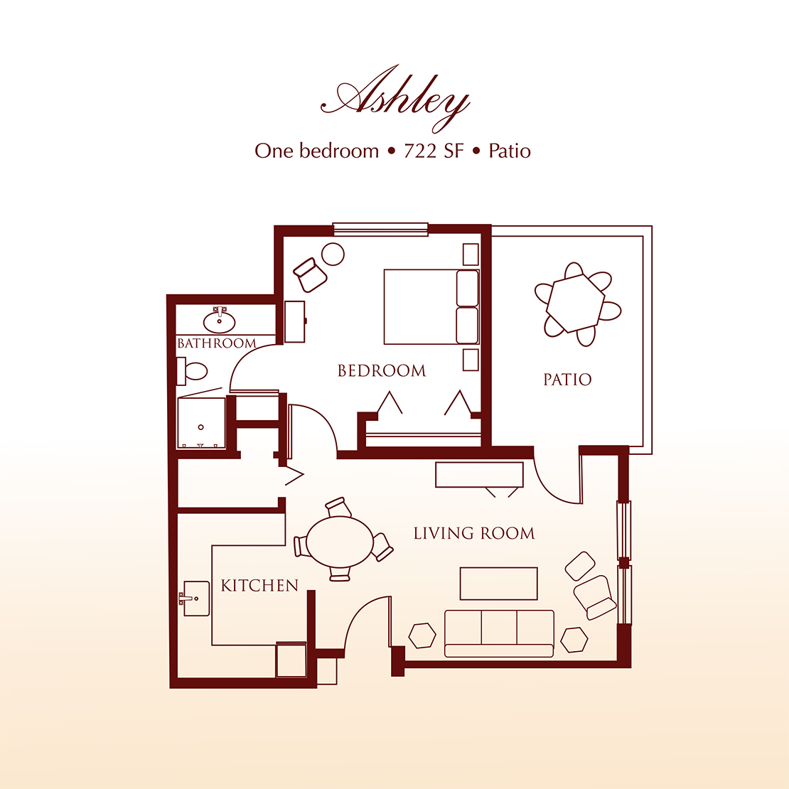 Floor plan - The Ashley One Bedroom Suite at Detray's Colonial Inn