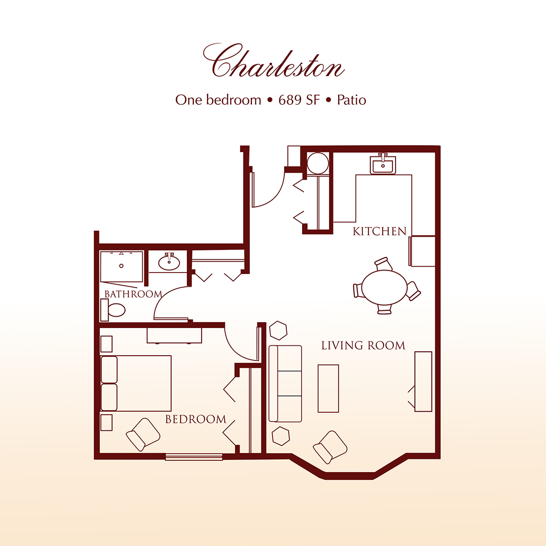 Floor plan - The Charleston One Bedroom Suite at Detray's Colonial Inn