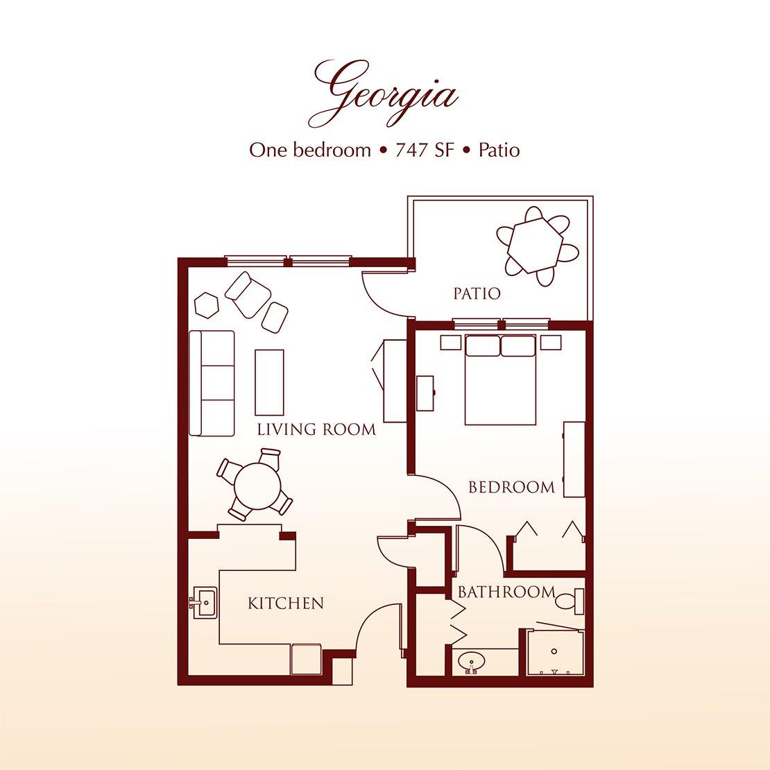 Floor plan - The Georgia One Bedroom Suite at Detray's Colonial Inn