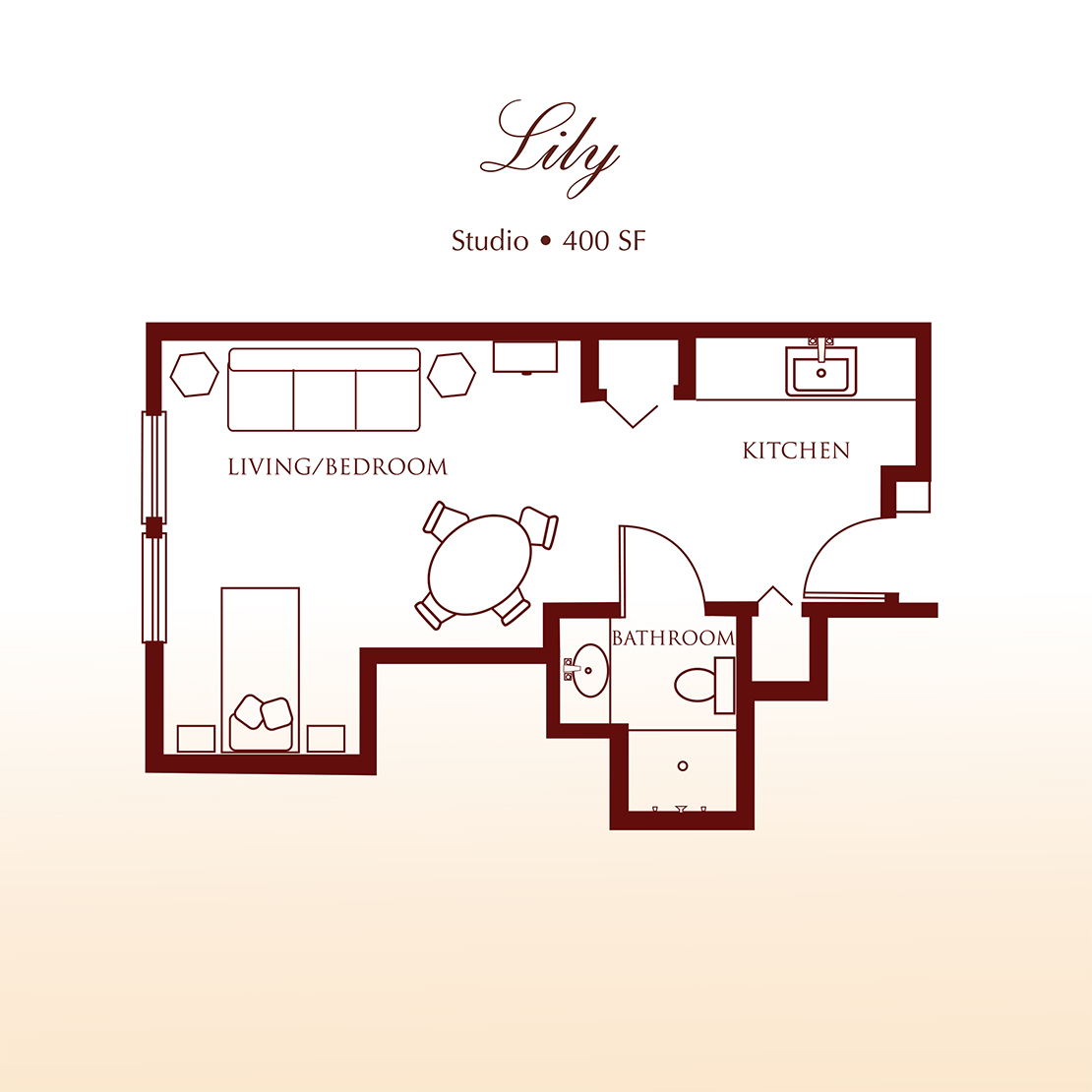 Floor plan - The Lily Studio Apartment at Detray's Colonial Inn