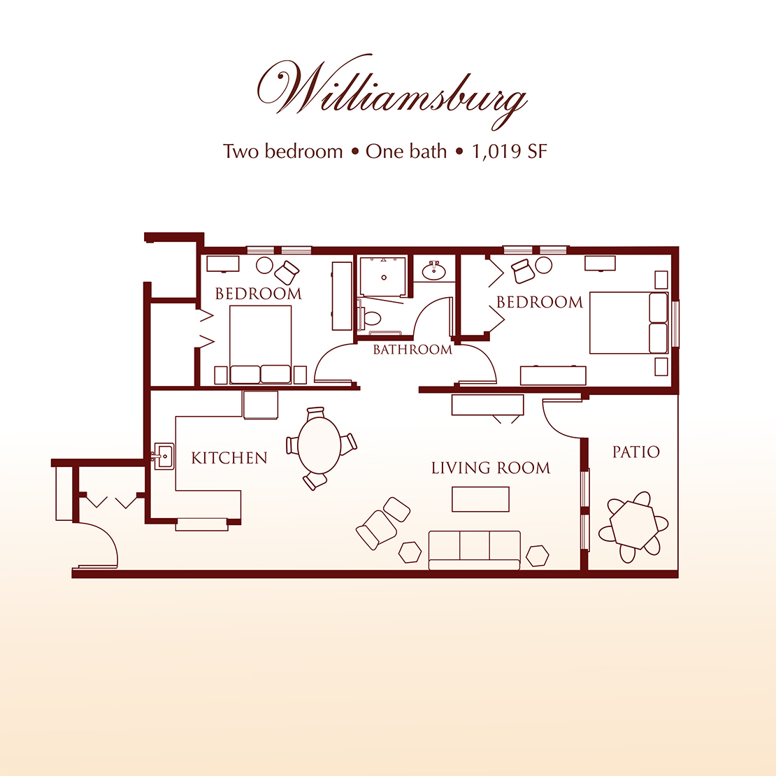 Williamsburg Two Bedroom Suite Floor Plan