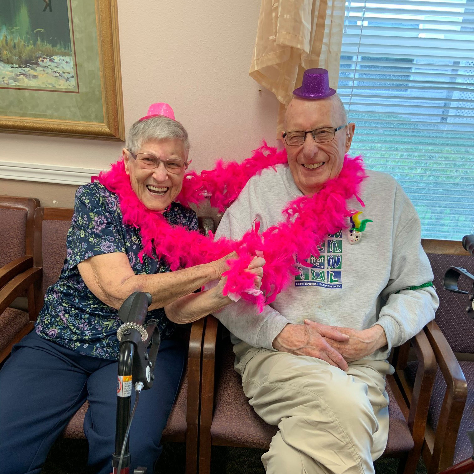 Two residents having some fun at Colonial Inn Olympia