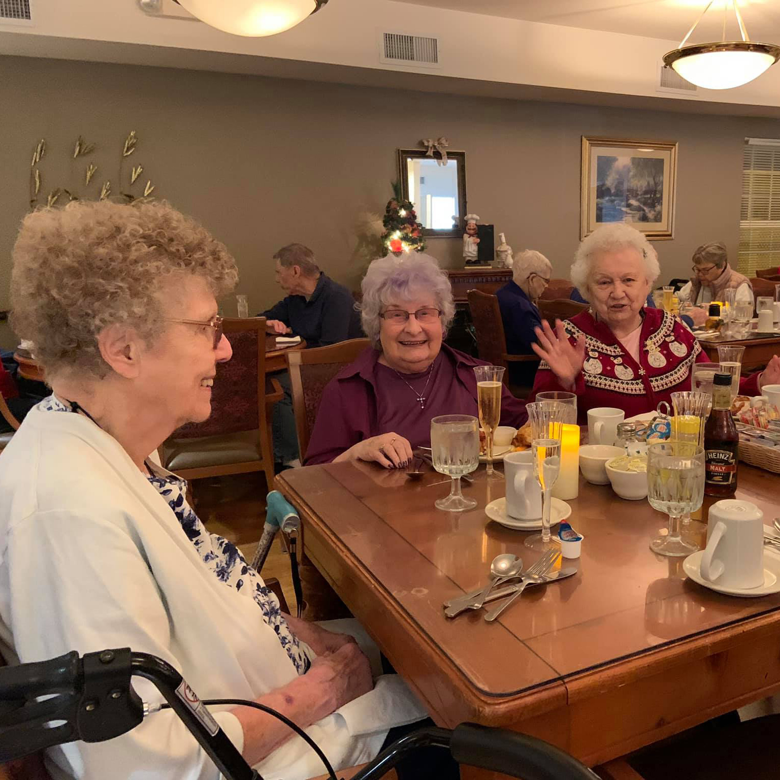 Three beautiful residents share a meal at Colonial Inn Olympia